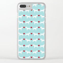Bull Terrier white hearts dog breed pet friendly dog gifts bull terriers Clear iPhone Case