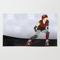 roller derby Area & Throw Rugs featuring Roller Derby by Aquamarine Studio