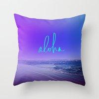 aloha Throw Pillows featuring Aloha by Leah Flores