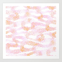 peachy pink abstract waves Art Print