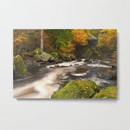 II - River through autumn colours at the Hermitage, Scotland Metal Print