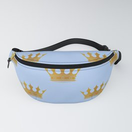 Louis Blue Gold Crown Prince of Cambridge Fanny Pack