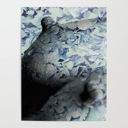 Blue Floral Breasts Poster