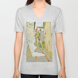 Tortora alley with scooter Unisex V-Neck