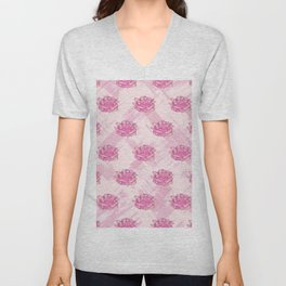 Pink Peach Rose Floral Watercolor Brushstrokes Unisex V-Neck
