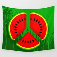 watermelon Wall Tapestries featuring Watermelon by mailboxdisco