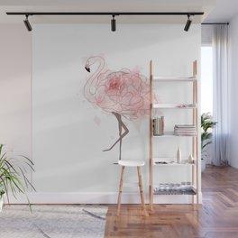 Red Rose Flamingo Wall Mural