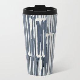 Simply Bamboo Brushstroke Indigo Blue on Lunar Gray Travel Mug