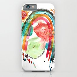 Put a Little Love in Your Heart Rainbow and Doodles Abstract Watercolor iPhone Case