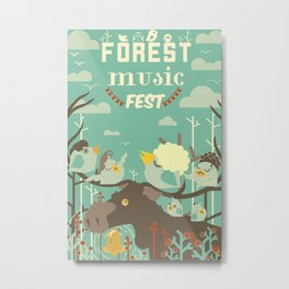 Forest Music Fest Bell Moose and singing birds Metal Print