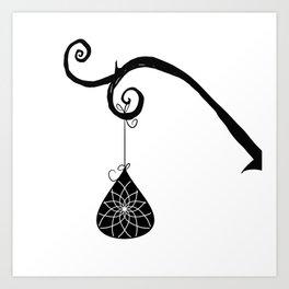 Burtonesque Branch with Ornament 2 / Black on White Art Print