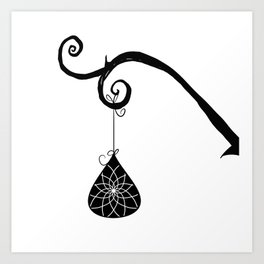 Burtonesque Branch with Ornament 2 / Black on White Art Print