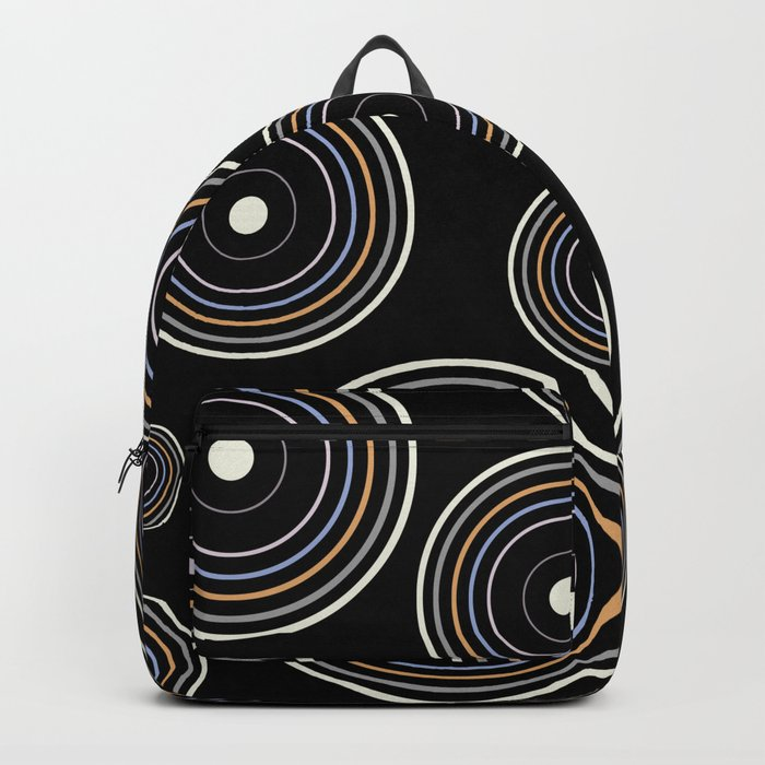 CONCENTRIC CIRCLES IN BLACK (abstract pattern) Backpack