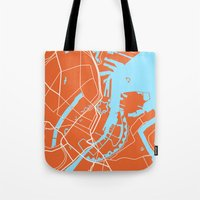 copenhagen Tote Bags featuring Copenhagen Map by Studio Tesouro