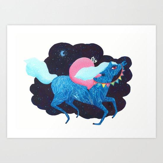 Death on a horse fairy tale illustration Art Print