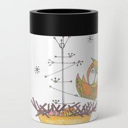 MidCentury Modern Whimsical Owl & Satellite Nest Can Cooler