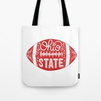 ohio state Tote Bags featuring Ohio State Football by Kasi Turpin
