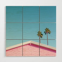 Pink House Roofline with Palm Trees (Palm Springs) Wood Wall Art