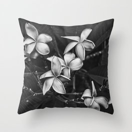 Flowers in Bold Black and White Throw Pillow