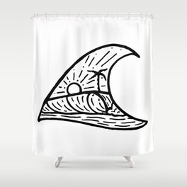 Wave in a Wave Shower Curtain