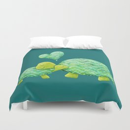 Sweet Turtle Hugs with Heart in Teal and Lime Green Duvet Cover