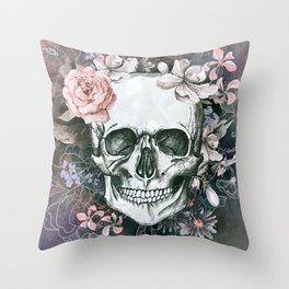 Gray Floral Skull Throw Pillow