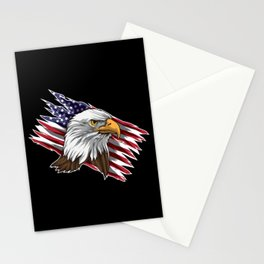 Patriotic Bald Eagle Head | Stars and Stripes Flag Stationery Cards