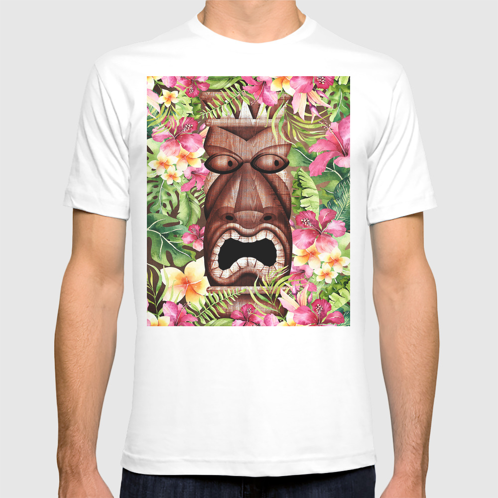 Tropical Hibiscus Tiki T-shirt by Christyne TSR8475150