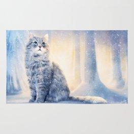 Cat in winter wonderland Rug