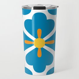 Abstract blue blossoms geometric pattern, large scale Travel Mug