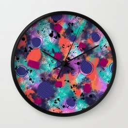 Colorful splattered stormy sky abstract Wall Clock