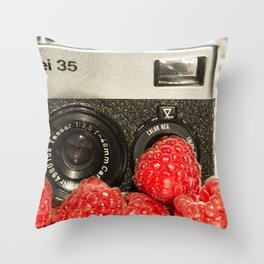 Raspberry Rollei Throw Pillow