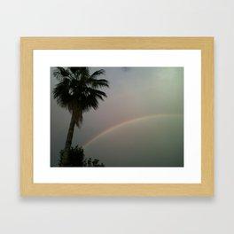 Palm Tree Sky Rainbow Framed Art Print