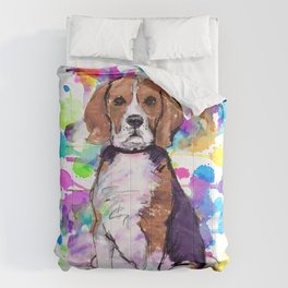 Cute watercolor beagle with paint splatters Comforters