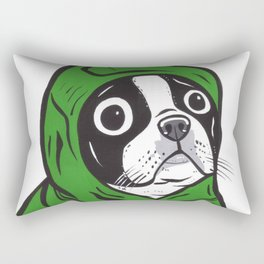 Boston Terrier Green Hoodie Rectangular Pillow