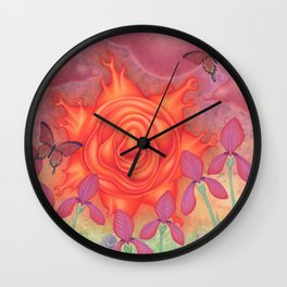 molten sun puce infused afternoon with irises Wall Clock