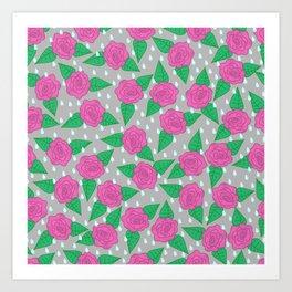 Raindrops and Roses - Pink and Gray Art Print