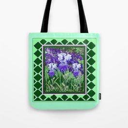 JADE GREEN PURPLE IRIS GARDEN PATTERN DESIGN Tote Bag