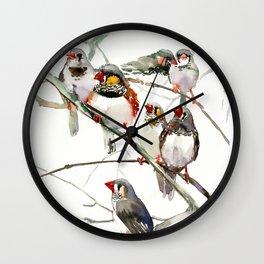 Birds, Cute birds Zebra Finch Art, Pet bird, Nursery, Children room Wall Clock