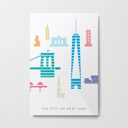 New York Skyline WTC Poster Color Metal Print