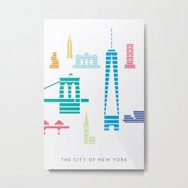 New York Skyline WTC Poster Color Metal Print