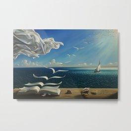 Paper Birds surreal literary seaside nautical portrait painting  Metal Print