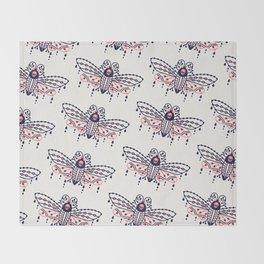Death's Head Hawkmoth – Blush & Navy Palette Throw Blanket