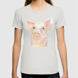 Pig Face Watercolor Farm Animal T-shirt