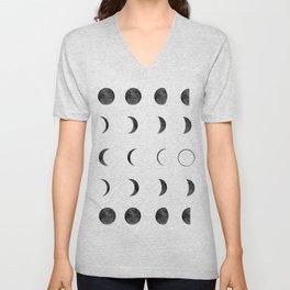 Moon Phases on Black Sky Unisex V-Neck