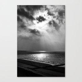 Sun behind clouds (B&W) Canvas Print