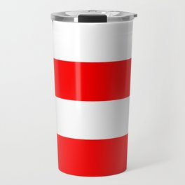 Wide Horizontal Stripes - White and Red Travel Mug