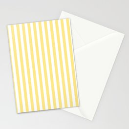 Modern geometrical baby yellow white stripes pattern Stationery Cards