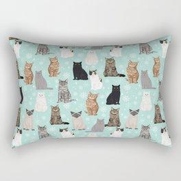 Cat snowflakes catsmas winter holiday pattern print pet portraits cat breed gifts Rectangular Pillow