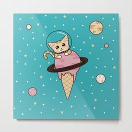 Space Cat on Ice Cream Planet Metal Print